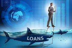 Ο επιχειρηματίας που εξετάζει επιτυχώς τα δάνεια και τα χρέη διανυσματική απεικόνιση