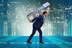 Ο επιχειρηματίας που εργάζεται πάρα πολύ σκληρά στην επιχειρησιακή έννοια Στοκ εικόνες με δικαίωμα ελεύθερης χρήσης