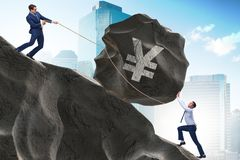 Ο επιχειρηματίας που κάνει εμπόριο σε ιαπωνικά γεν διανυσματική απεικόνιση