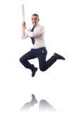 Ο επιχειρηματίας που πηδά με το ρόπαλο του μπέιζμπολ Στοκ Φωτογραφία