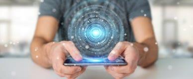 Ο επιχειρηματίας που χρησιμοποιεί τη διεπαφή σύνδεσης ψηφιακών δικτύων τρισδιάστατη δίνει Στοκ εικόνα με δικαίωμα ελεύθερης χρήσης