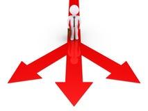 Ο επιχειρηματίας πρέπει να επιλέξει την κατεύθυνση Στοκ Εικόνες