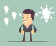 Ο επιχειρηματίας σκέφτεται για τις ιδέες συνεργαστείτε έννοια απεικόνιση αποθεμάτων