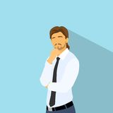 Ο επιχειρηματίας σκέφτεται το χέρι λαβής στο πηγούνι, επιχειρησιακό άτομο διανυσματική απεικόνιση