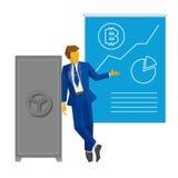 Ο επιχειρηματίας στέκεται κοντά στο κλειστό χρηματοκιβώτιο και παρουσιάζει αφίσα με το bitcoin Στοκ φωτογραφία με δικαίωμα ελεύθερης χρήσης