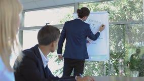 Ο επιχειρηματίας σύρει τις γραφικές παραστάσεις στο whiteboard κατά τη διάρκεια της διάσκεψης φιλμ μικρού μήκους