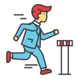 Ο επιχειρηματίας τρέχει τη διαγώνια γραμμή τερματισμού, επιχειρησιακή φυλή, έννοια μαραθωνίου CEO ελεύθερη απεικόνιση δικαιώματος