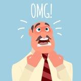 Ο επιχειρηματίας υφίσταται τη φρίκη ή την κατάθλιψη φόβου συγκίνησης απεικόνιση αποθεμάτων