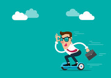 Ο επιχειρηματίας φορά τα γυαλιά ηλίου κρατώντας το χαρτοφύλακα πηγαίνοντας να εργαστεί από το hoverboard Απομονωμένη διανυσματική Στοκ Εικόνες
