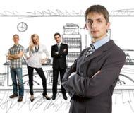 ο επιχειρηματίας χαρτον&io Στοκ φωτογραφία με δικαίωμα ελεύθερης χρήσης