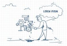 Ο επιχειρηματίας Doodle με το διευθυντή κλειδιών ρυθμίζει το μηχανισμό Έννοια υπηρεσίας υποστήριξης ελεύθερη απεικόνιση δικαιώματος