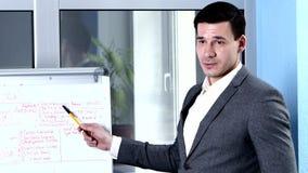 Ο επιχειρηματίας flipchart εξηγεί για κάποιο θέμα φιλμ μικρού μήκους
