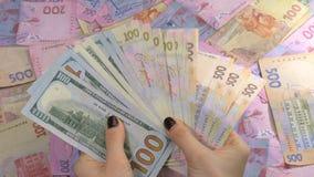 Ο επιχειρηματίας ` s δίνει το μετρώντας δολάριο και το hryvnia χρημάτων Μετρώντας ουκρανικά χρήματα φιλμ μικρού μήκους