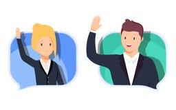 Ο επιχειρησιακοί άνδρας και η γυναίκα επικοινωνούν Κουβεντιάζοντας με το chatbot στο τηλέφωνο, σε απευθείας σύνδεση συνομιλία με  ελεύθερη απεικόνιση δικαιώματος