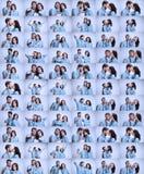 Ο επιχειρησιακοί άνδρας και η γυναίκα που επικοινωνούν σε ένα γκρίζο υπόβαθρο Στοκ Εικόνες