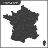 Ο λεπτομερής χάρτης της Γαλλίας με τις περιοχές διανυσματική απεικόνιση
