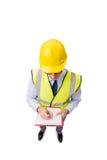 Ο επόπτης κατασκευής που απομονώνεται στο άσπρο υπόβαθρο Στοκ φωτογραφίες με δικαίωμα ελεύθερης χρήσης