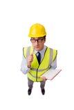 Ο επόπτης κατασκευής που απομονώνεται στο άσπρο υπόβαθρο Στοκ Φωτογραφίες