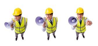 Ο 0 επόπτης κατασκευής που απομονώνεται στο λευκό Στοκ Εικόνες