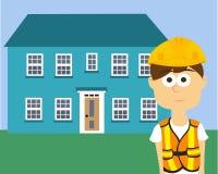 Ο εργάτης οικοδομών, ΑΤΟΜΑ έντυσε στα ενδύματα εργασίας, και την ασφάλεια, μηχανικός κατασκευής Στοκ Φωτογραφίες