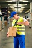 Ο εργαζόμενος ανιχνεύει τη συσκευασία στην αποθήκη εμπορευμάτων της αποστολής Στοκ Εικόνες