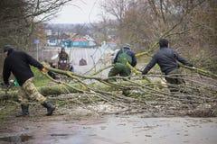 Ο εργαζόμενος κόβει ένα πεσμένο δέντρο στο δρόμο Στοκ φωτογραφία με δικαίωμα ελεύθερης χρήσης