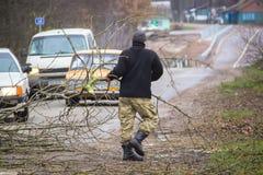 Ο εργαζόμενος κόβει το πεσμένο δέντρο στο δρόμο Στοκ εικόνες με δικαίωμα ελεύθερης χρήσης
