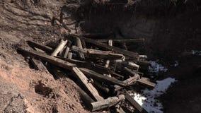 Ο εργαζόμενος ρίχνει τα κομμάτια του ξύλου στο κοίλωμα φιλμ μικρού μήκους