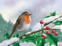 Ο ευρωπαϊκός Robin εσκαρφάλωσε σε έναν κλάδο σε ένα χιονώδες τοπίο διανυσματική απεικόνιση
