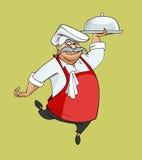 Ο ευτυχής αρχιμάγειρας κινούμενων σχεδίων που χορεύει αντέχει το πιάτο Στοκ Εικόνες