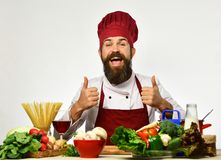 Ο ευτυχής αρχιμάγειρας που στέκεται πέρα από τα συστατικά και που παρουσιάζει φυλλομετρεί επάνω Στοκ εικόνες με δικαίωμα ελεύθερης χρήσης