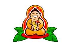 Ο ευτυχής γελώντας Βούδας με ένα κοκτέιλ Στοκ Εικόνες