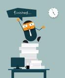 Ο ευτυχής επιχειρηματίας τελειώνει την εργασία του εγκαίρως Απεικόνιση αποθεμάτων