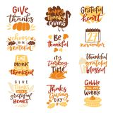Ο ευτυχής ημέρας των ευχαριστιών κειμένων χρόνος οικογενειακών γευμάτων εγγραφής λογότυπων διανυσματικός γιορτάζει μαζί το χρόνο  ελεύθερη απεικόνιση δικαιώματος