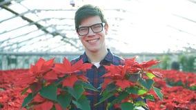 Ο ευτυχής κηπουρός παρουσιάζει τα κόκκινα λουλούδια και χαμόγελο στη κάμερα 4K απόθεμα βίντεο