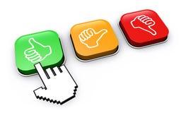 Ο ευτυχής πελάτης χτυπά το κουμπί ανατροφοδότησης διανυσματική απεικόνιση