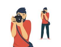 Ο ευτυχής φωτογράφος παίρνει μια φωτογραφία απεικόνιση αποθεμάτων