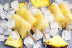 Ο εύγευστος σπιτικός ανανάς Popsicles στον πάγο κυβίζει την γκρίζα έννοια θερινών τροφίμων υποβάθρου επάνω από οριζόντιο στοκ εικόνες με δικαίωμα ελεύθερης χρήσης