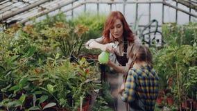 Ο εύθυμος θηλυκός κηπουρός ψεκάζει το νερό στις εγκαταστάσεις και έχει τη διασκέδαση με τη λατρευτή μικρή κόρη της να αναπτύξει λ φιλμ μικρού μήκους