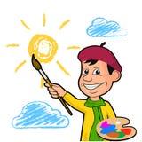 Ο εύθυμος καλλιτέχνης σύρει τον ήλιο μεταξύ των σύννεφων ελεύθερη απεικόνιση δικαιώματος