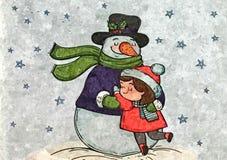 Ο εύθυμος χιονάνθρωπος μου Υγρό watercolor ζωγραφικής σε χαρτί Αφελής τέχνη αφηρημένη τέχνη Watercolor σχεδίων σε χαρτί διανυσματική απεικόνιση