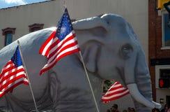 Ελέφαντας και αμερικανική σημαία Rebuplican Στοκ εικόνες με δικαίωμα ελεύθερης χρήσης