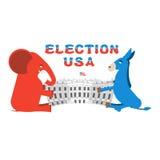 Ο ελέφαντας και ο γάιδαρος διαιρούν το Λευκό Οίκο Δημοκρατικοί και δημοκράτης Στοκ Φωτογραφίες