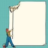 Ο ζωγράφος εργαζομένων κολλά την άσπρη αφίσα απεικόνιση αποθεμάτων
