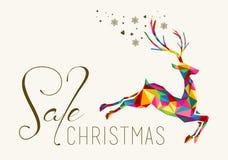 Ο ζωηρόχρωμος τρύγος ταράνδων πώλησης Χριστουγέννων κρεμά την ετικέττα ελεύθερη απεικόνιση δικαιώματος