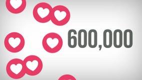 Ο ζωντανεψοντας πυροβολισμός 1.000.000 επιθυμεί υπολογισμός με τις τεράστιες καρδιές σε μια κοινωνική σελίδα μέσων 4K βίντεο ελεύθερη απεικόνιση δικαιώματος
