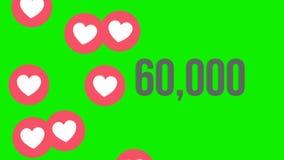 Ο ζωντανεψοντας πυροβολισμός 100.000 επιθυμεί υπολογισμός με τις τεράστιες καρδιές σε μια κοινωνική σελίδα μέσων πράσινη οθόνη ελεύθερη απεικόνιση δικαιώματος