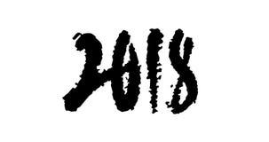 Ο ζωντανεψοντας συρμένος χέρι Μαύρος καλλιγραφίας 2018 στο λευκό απόθεμα βίντεο