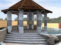 Ο ζωτικός χώρος patio ρύθμισης, τρισδιάστατος δίνει Στοκ Εικόνα