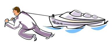 Ο ηγέτης τραβά το σκάφος Στοκ Εικόνες